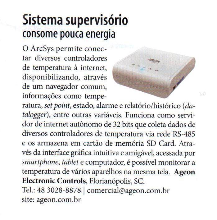 Matéria sobre o Sistema Supervisório ArcSys, publicada na edição de fevereiro de 2014 da Revista NEI