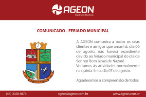 Comunicado – Feriado Municipal