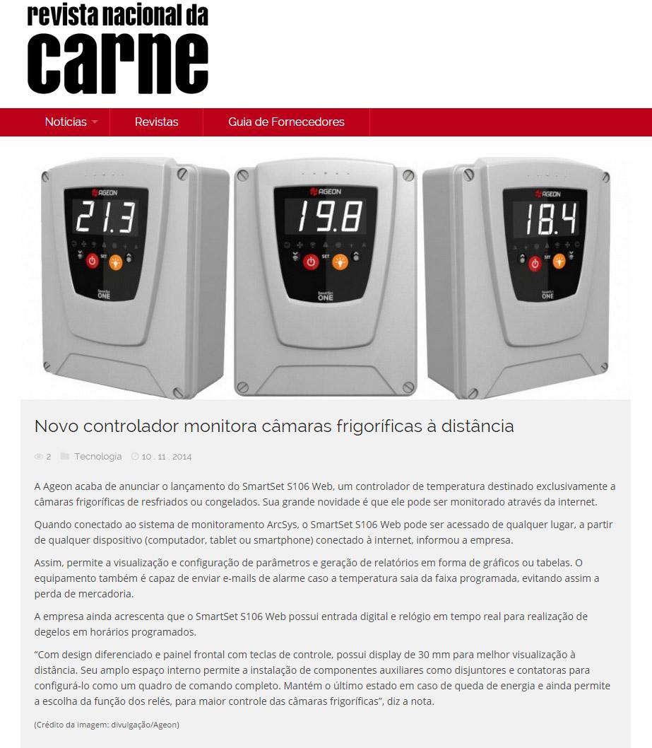 Monitoramento de Temperatura com SmartSet S106 Web - Revista Nacional da Carne