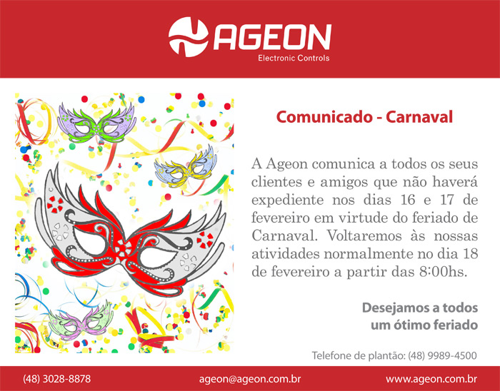 Comunicado de Carnaval - Ageon Electronic Controls