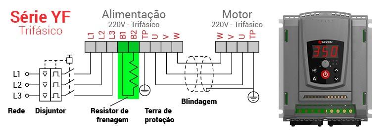Ligando o Resistor de Frenagem ao inversor de frequência YF Standard Ageon