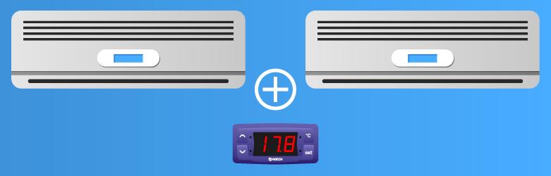 Dois aparelhos de ar condicionado e um controlador de temperatura