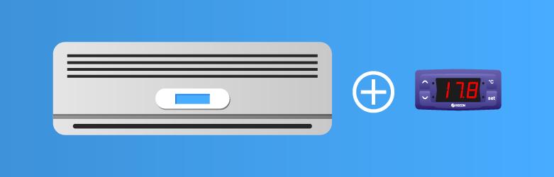 Um aparelho de ar condicionado e um controlador de temperatura