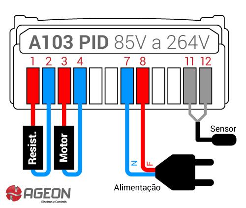 A103 PID - Seleção de tensão automática (85V a 264V)