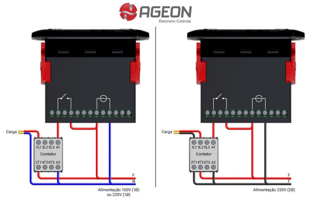 Ligação de um contator ao controlador de temperatura