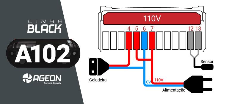 Controlador de Temperatura A102 para Geladeira para Fermentação de Cerveja - 110V
