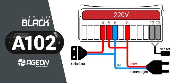 Controlador de Temperatura A102 para Geladeira para Fermentação de Cerveja - 220V