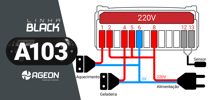 Controlador de Temperatura A103 para Geladeira para Fermentação de Cerveja - 220V