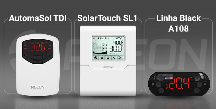 Controladores de temperatura AutomaSol TDI, SolarTouch SL1 e Linha Black 108 da Ageon
