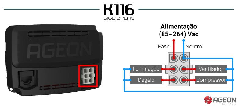 Instalação elétrica do controlador de temperatura K116 Big Display para expositores de bebidas